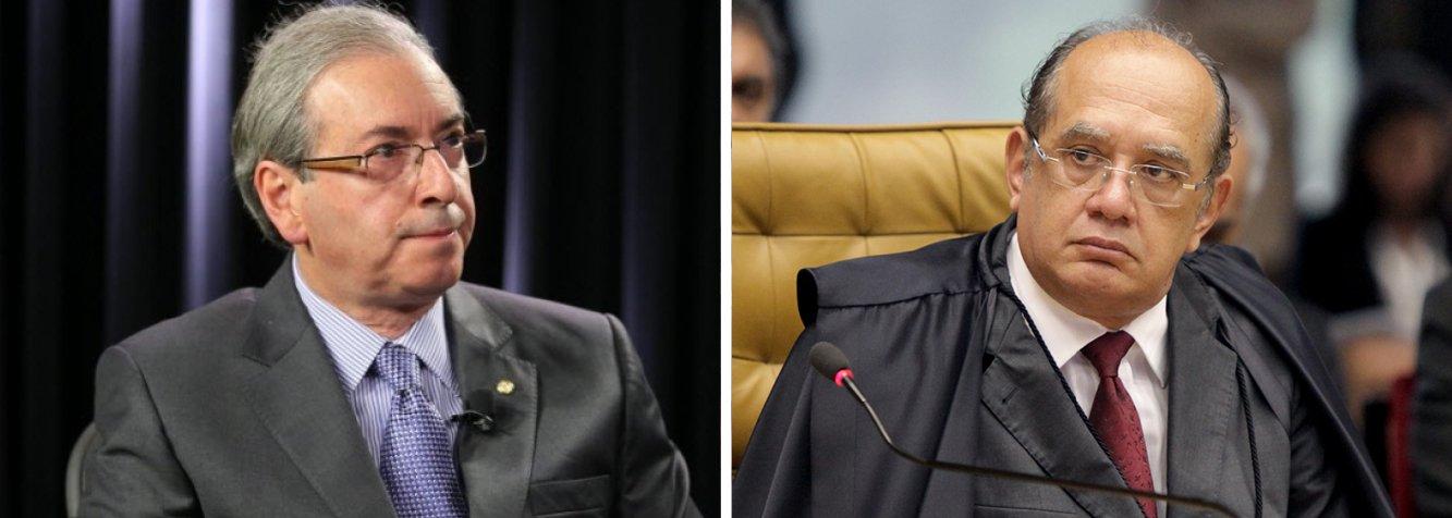 """O ministro Gilmar Mendes se reuniu nesta quarta (11) com o presidente da Câmara, Eduardo Cunha (PMDB-RJ), que é um dos 34 congressistas que serão investigados por suspeita de participação no esquema de corrupção da Petrobras; o encontro, que não estava previsto na agenda, durou menos de 30 minutos; Mendes negou que tenha falado com Cunha sobre o """"grande assunto"""", em referência à abertura de inquéritos; esse foi o segundo encontro consecutivo que Cunha tem com ministros do STF; ontem, ele se reuniu com ministro Dias Toffoli"""