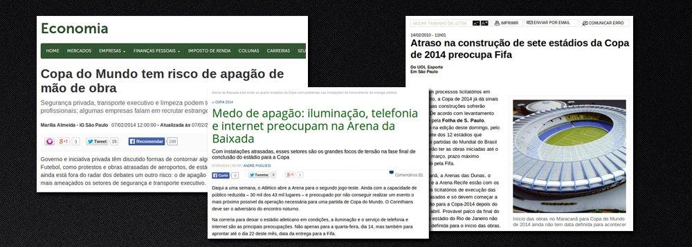 """Site """"Muda Mais"""" questiona reportagens da grande mídia que previam problemas diversos durante a realização da Copa do Mundo; """"a Copa está rolando, as pessoas estão felizes, os turistas estão se divertindo e os jogadores e jornalistas estrangeiros estão se encantando. Os estádios ficaram prontos, o caos aéreo não rolou, nem mesmo todos os apagões previstos: de energia elétrica, de mão de obra, telefonia e internet. Sim, se você não se lembra, tudo isso foi previsto pela mídia tradicional no Brasil nos meses que antecederam a Copa do Mundo"""", diz o texto"""
