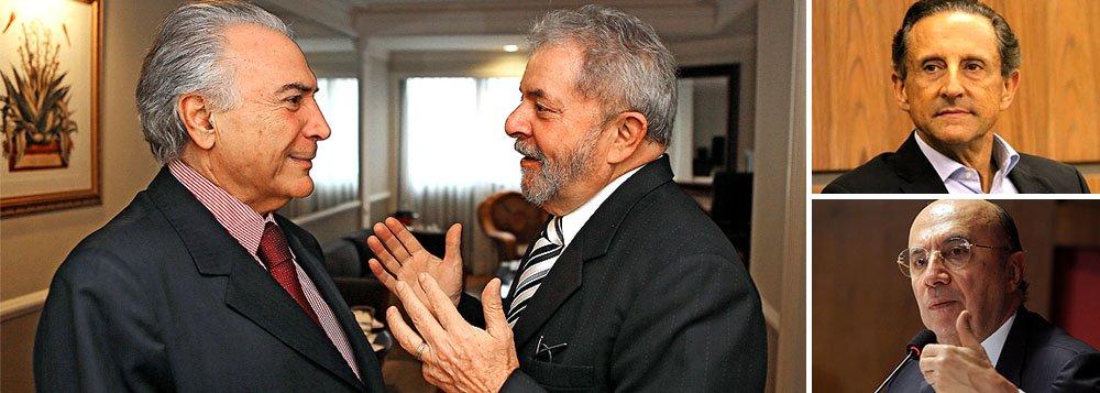Ex-presidente Lula quer que vice-presidente Michel Temer (PMDB) ofereça ao presidente nacional do PSD, Gilberto Kassab, que Henrique Meirelles seja o candidato ao Senado na chapa de Paulo Skaf, presidente da Fiesp, pelo governo de São Paulo; Kassab disse a parlamentares que conversas com o PSDB de Geraldo Alckmin avançaram no Estado