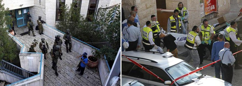 Dois homens supostamente palestinos armados com facas e machados mataram quatro pessoas em uma sinagoga de Jerusalém nesta terça-feira antes de serem mortos por policiais, informaram a polícia israelense e os serviços de emergência, no ataque mais mortal deste tipo na cidade em vários anos