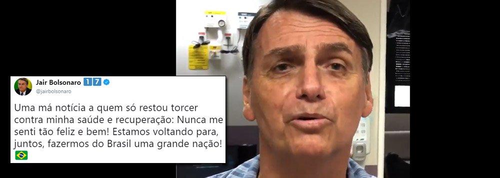Em vídeo, Bolsonaro diz esperar alta hospitalar antes do 1º turno