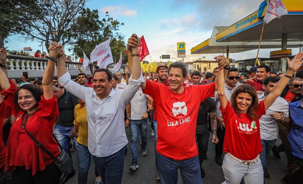 Haddad dispara em Pernambuco e lidera com 26%, diz Ibope
