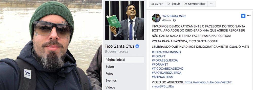 Hackers invadem página de Tico Santa Cruz