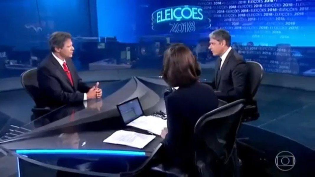 No Jornal Nacional, Haddad foi interrompido 62 vezes, Alckmin 17