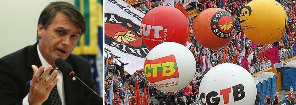 Centrais manifestam repúdio a Bolsonaro