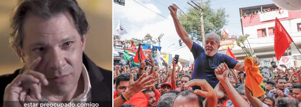 Haddad se emociona ao falar de injustiça contra Lula