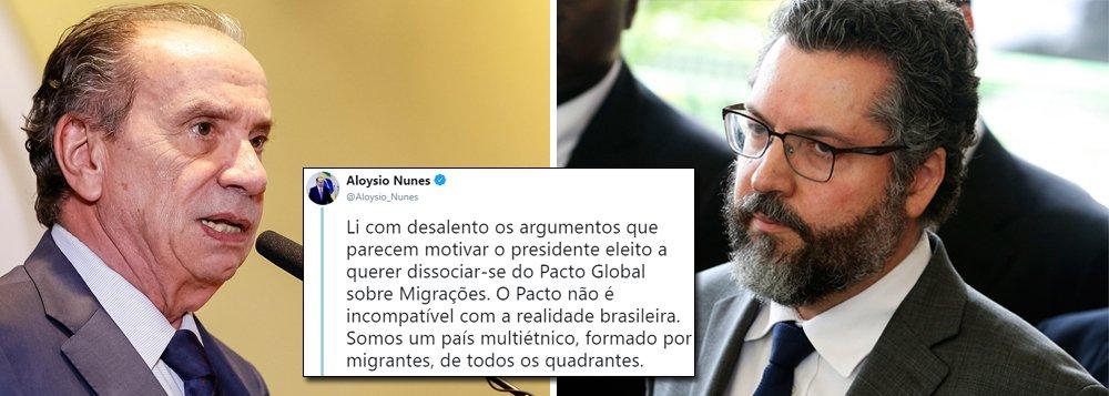 Aloysio Nunes contesta chanceler de Bolsonaro em polêmica sobre migrações