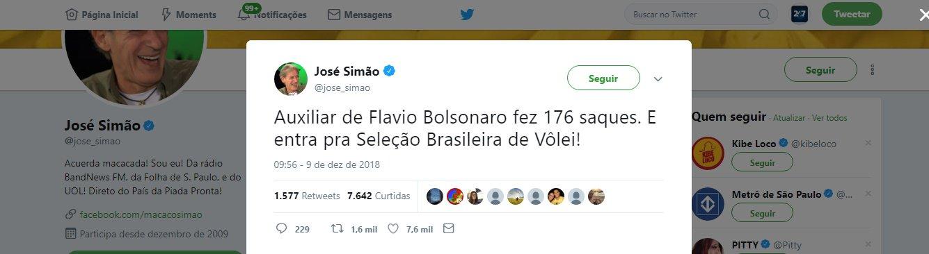 Operador dos Bolsonaro vira piada do Macaco Simão