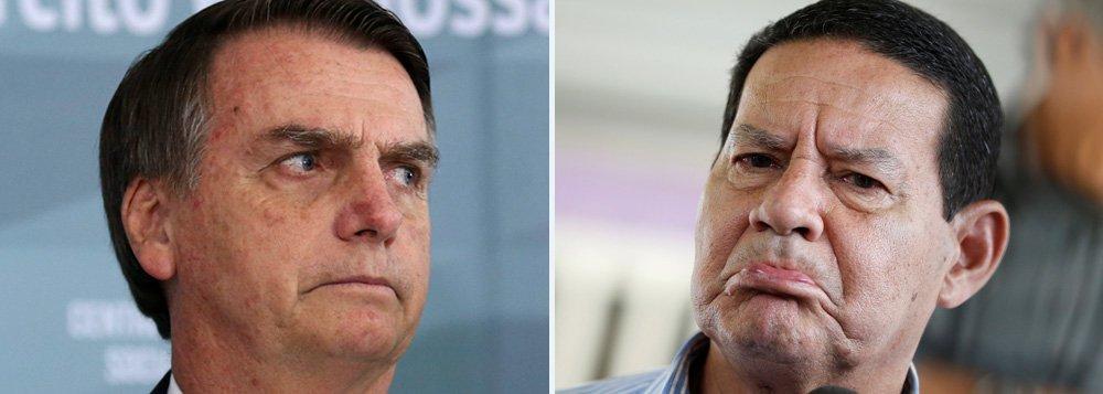 Bolsonaro manda Mourão calar-se mais uma vez e aceitar papel decorativo