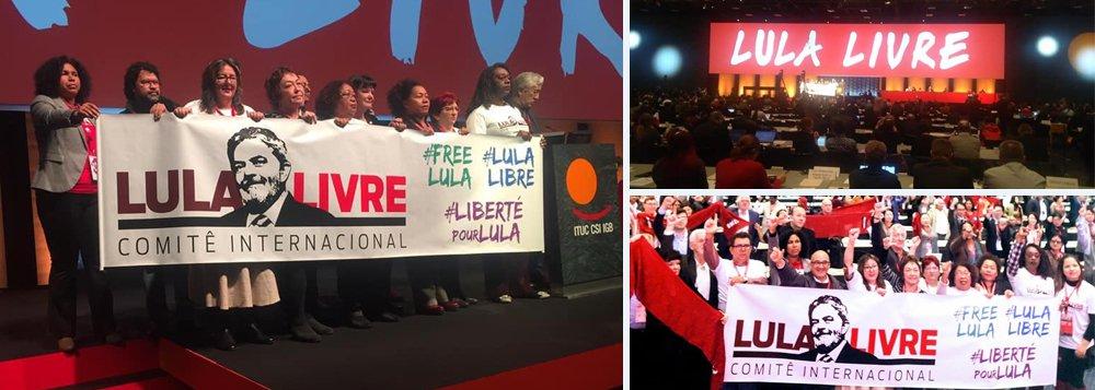 Congresso mundial de trabalhadores promove ato em defesa de Lula