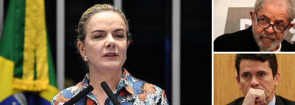 Gleisi Hoffmann: Moro é doente e odeia Lula