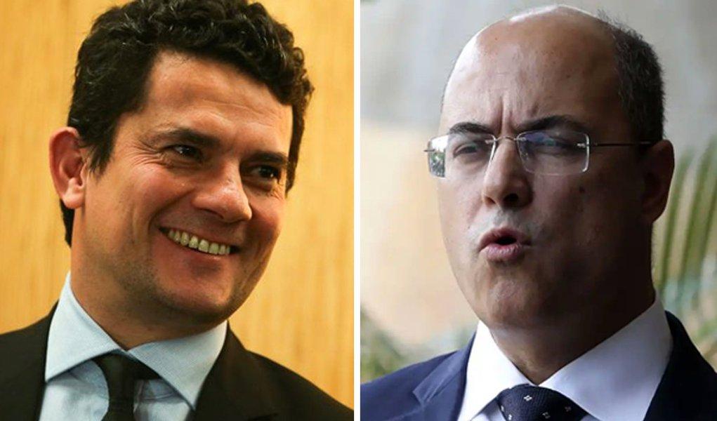 O ministro da Justiça Moro e o governador do RJ Witzel