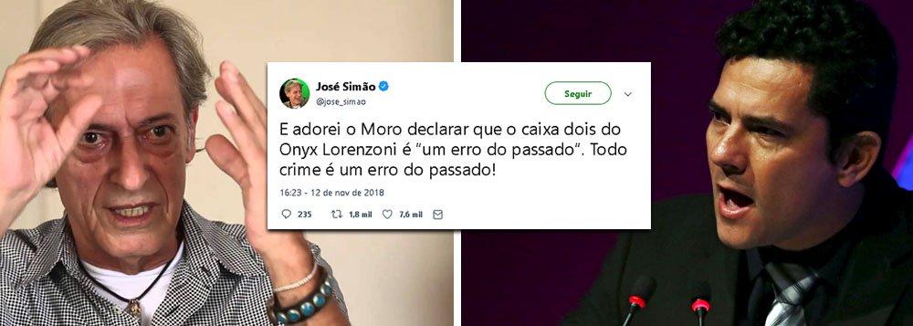Zé Simão ironiza perdão de Moro a Onyx: todo crime é coisa do passado