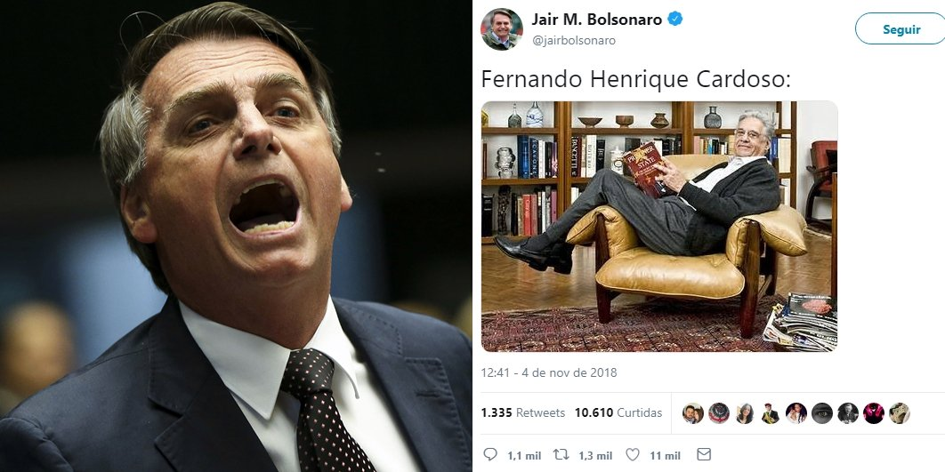 Após crítica do ex-presidente, Bolsonaro ironiza FHC no Twitter