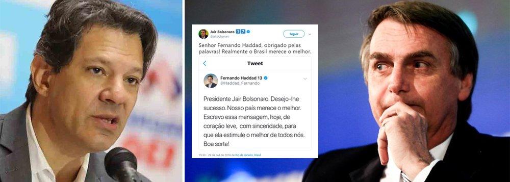 Bolsonaro ironiza Haddad e diz que o Brasil merece o melhor