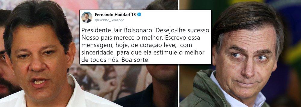 Haddad cumprimenta Bolsonaro pela vitória