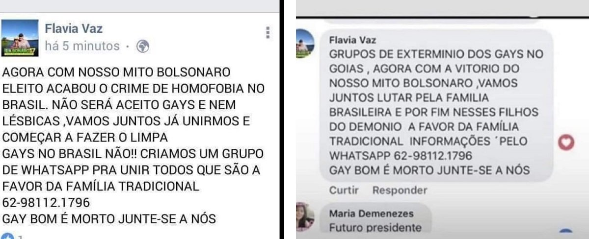 Grupos de extermínio de gays celebram vitória de Bolsonaro em Goiás