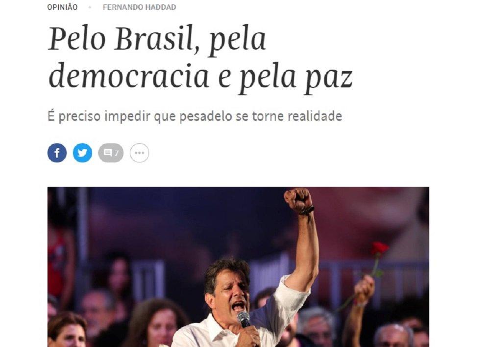 Haddad publica artigo na Folha. Convidado, Bolsonaro não conseguiu se expressar