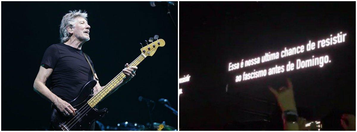 Em últimos segundos antes das 22h, Roger Waters prega Ele Não durante show