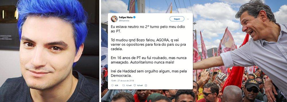 Felipe Neto, maior youtuber do Brasil, abre seu voto em Fernando Haddad