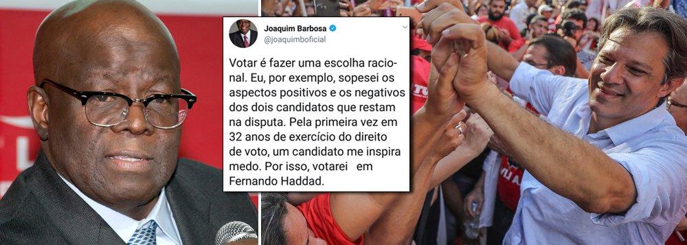 Urgente: Joaquim Barbosa abre voto em Haddad