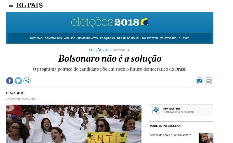 El País se posiciona: Bolsonaro não é a solução