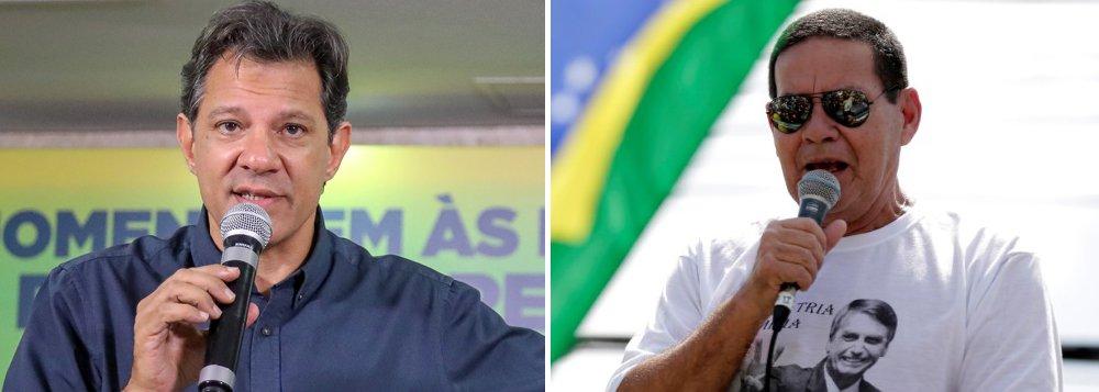 Haddad diz que Mourão, vice de Bolsonaro foi torturador na ditadura militar