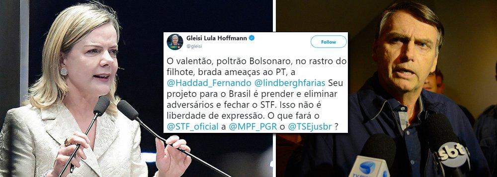 Gleisi pede providências contra Bolsonaro e o filho por ataques ao PT e à democracia