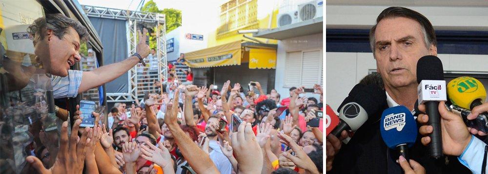 Pesquisa CNT/MDA: Bolsonaro tem 57% e Haddad 43% dos válidos