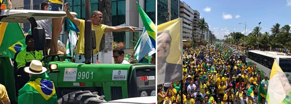 Apoiadores de Bolsonaro usam trator de Prefeitura em manifestação