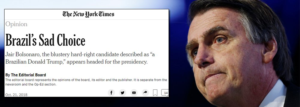 The New York Times sobre Bolsonaro: 'repulsivo'