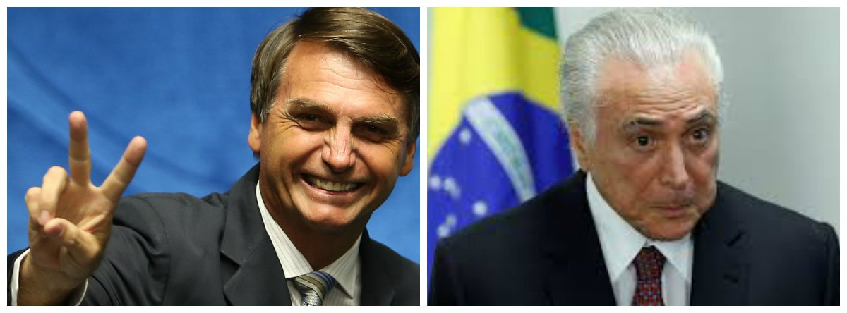 Bolsonaro defende Temer: não vou dizer que tudo está errado no governo dele