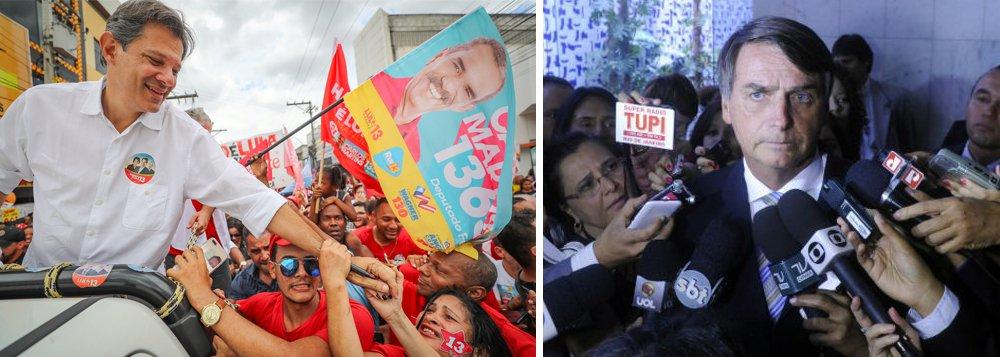 Sai a pesquisa Vox/247: Haddad e Bolsonaro farão segundo turno