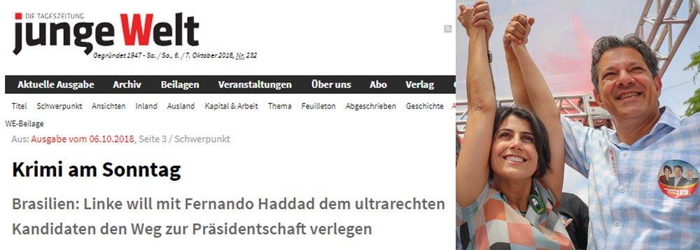 Jornal alemão Junge Welt diz que Haddad é a opção democrática