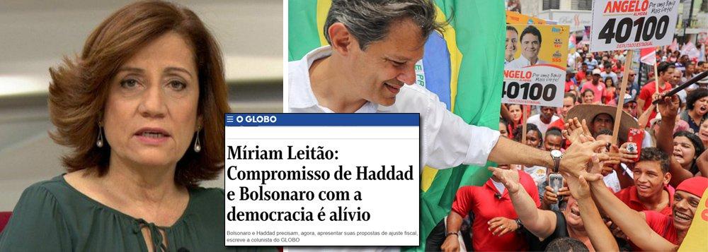 Linchada por bolsonaristas, Miriam Leitão recebe apoio de Haddad; mas rateia