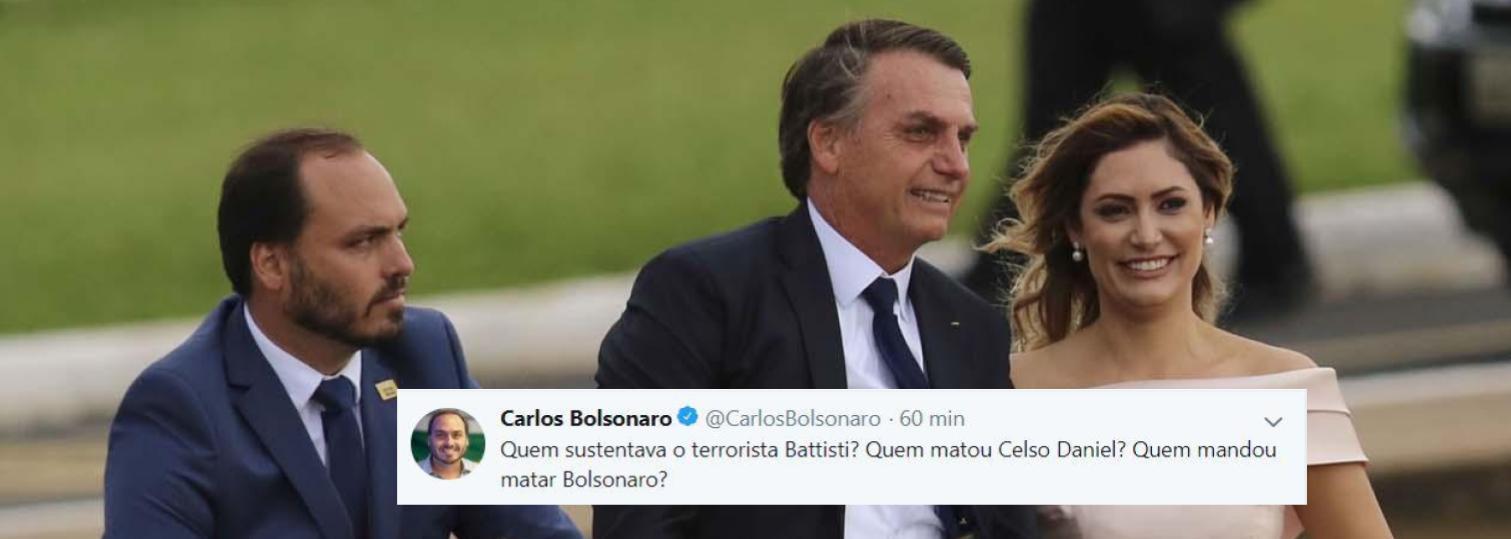 Carlos Bolsonaro insinua em tweet que PT mandou matar seu pai