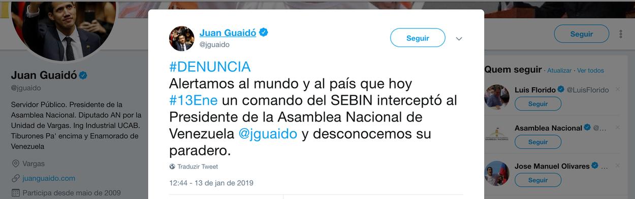 Maduro prende opositor que se declarou presidente com apoio dos EUA e do Brasil