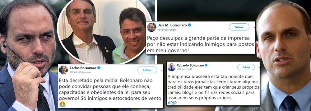 Clã Bolsonaro se revolta com reação da mídia à nomeação de amigo pelo pai
