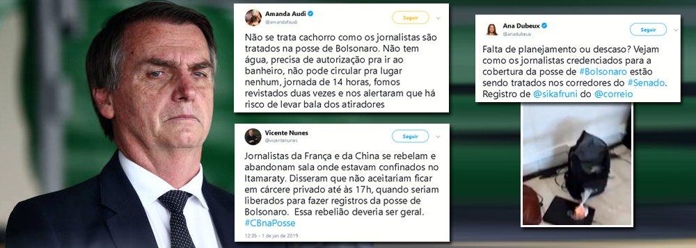 Posse de Bolsonaro: imprensa é tratada como lixo. Franceses e chineses abandonam cobertura