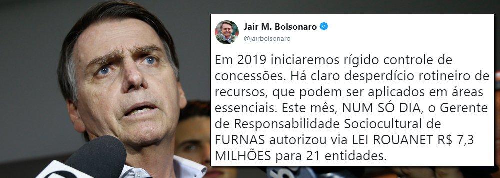 Em novo ataque à cultura, Bolsonaro associa Lei Rouanet a 'desperdício'