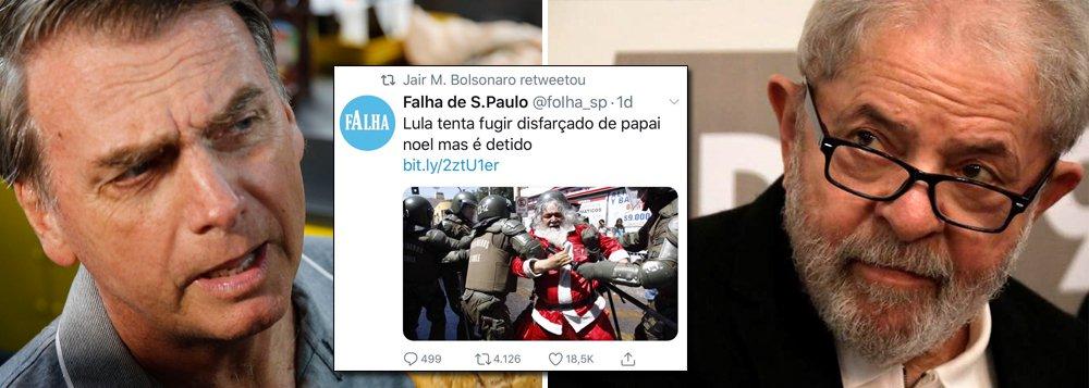 Bolsonaro volta a agredir Lula no Twitter