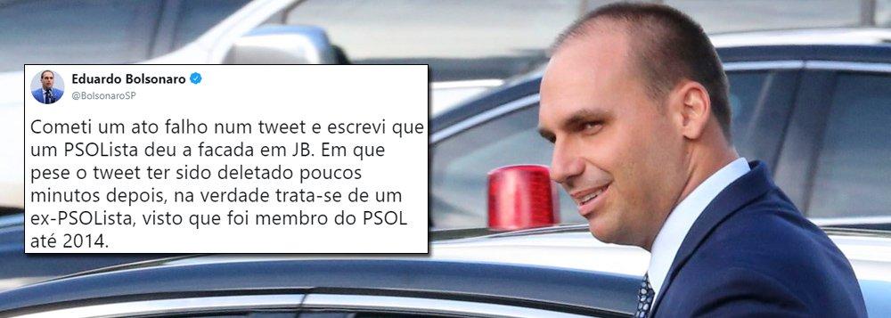 Eduardo Bolsonaro se retrata com PSOL sobre Adélio