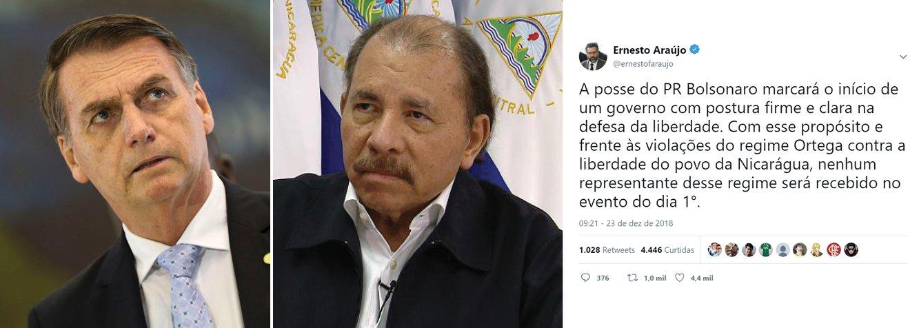 Depois de Cuba e Venezuela, Bolsonaro desconvida Nicarágua para sua posse