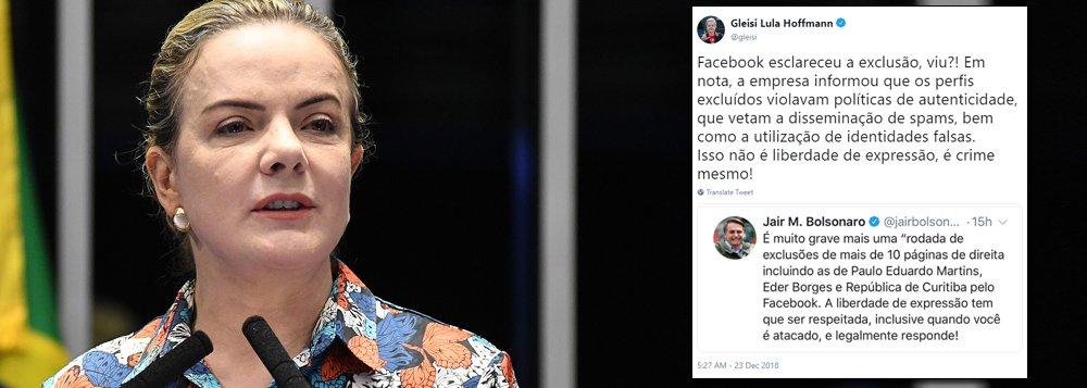 Gleisi rebate Bolsonaro: isso não é liberdade de expressão, é crime mesmo