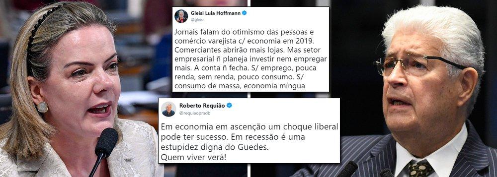 Gleisi e Requião não tão otimistas em relação à recuperação da economia