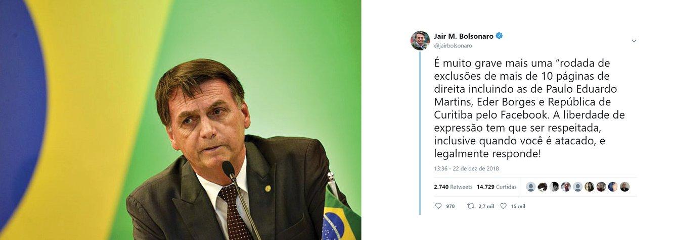 """Facebook exclui páginas de extrema direita e Bolsonaro denuncia """"censura"""""""