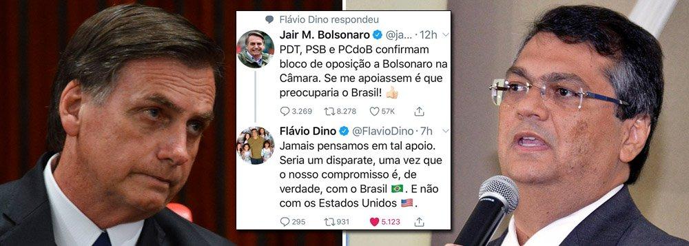 Bolsonaro critica oposição de esquerda e toma invertida de Dino