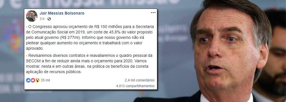 Bolsonaro pressiona mídia com publicidade oficial 45% menor