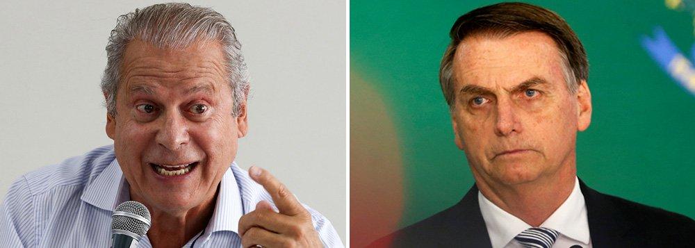 Dirceu: cadeira de presidente vai queimar Bolsonaro