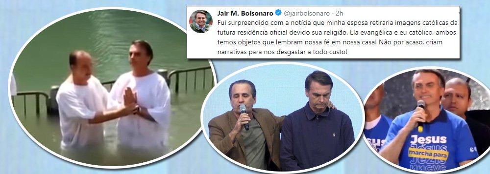 Membro da Assembleia de Deus, Bolsonaro se diz católico e que foi 'surpreendido' pela mulher